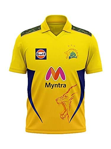 FABWAX CSK Chennai Super Kings IPL 2021 New Jersey or Tshirt for Boys Kids Girls M'ens Woman Unisex (Orignal Quality) (Size -(32)- 12 to 13 Years, Yellow)