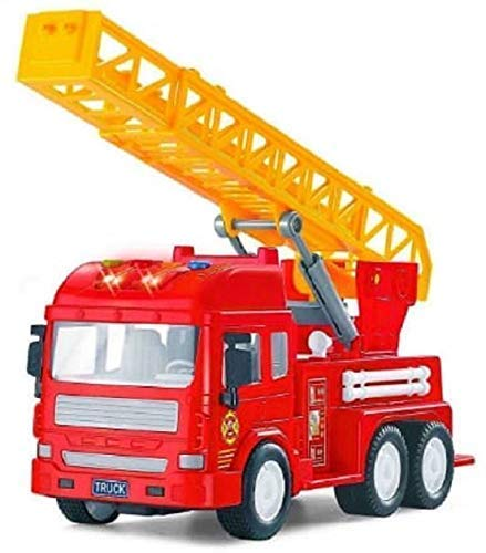 CloudConcept™ Multi Coloured Big Size Friction Powered Realistic Fire Rescue Truck 🚒 Toy with Light and Musical Fire Truck for Kids Unbreakable Friction Powered Vehicle | Battery Operated with Flashing Lights & Sound (Fire Truck)