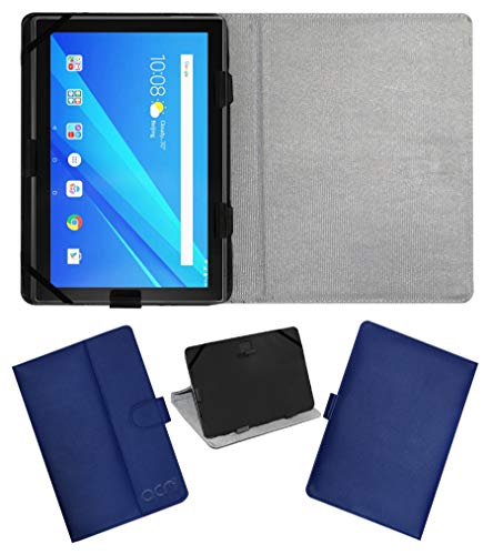 Acm Leather Flip Flap Case Compatible with Lenovo 10 Inch Byju Tablet Cover Stand Blue