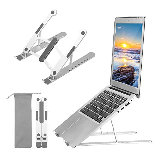 Homgee Laptop Stand Adjustable Portable Computer Riser Tablet Elevator for Desk Cooling Aluminum Ventilated Notebook Holder Compatible with 10-17in PC