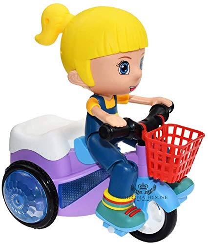 Khilona House Cartoon Tricycle Stunt Toy Electric Motorcycle Car Lights and Sound Vehicles Toys, Mini Stunt Car, Three Wheeled Bicycle for Toddlers Baby Kids Children Birthday (Stunt car Girl)