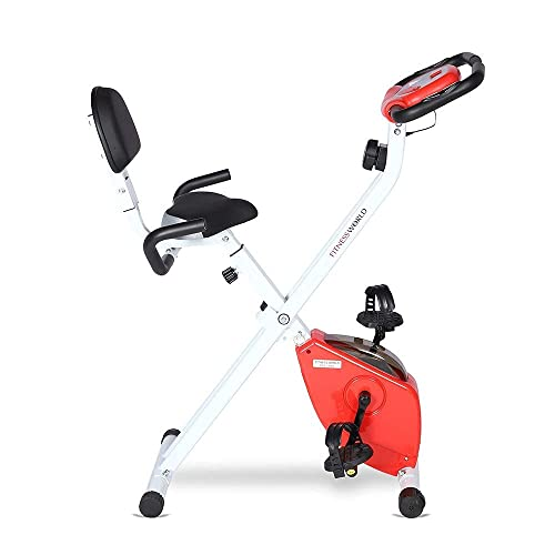 FITNESS WORLD Eazy Bike for Home and Gym | 8 Level Magnetic Resistance Exercise Bike With Anti-Skid Pedals, Adjustable Foot Strap(Red and Silver)