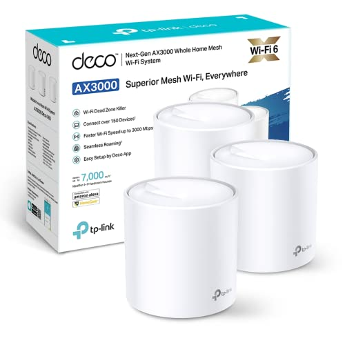 TP-Link Deco X60 Whole Home Mesh Wi-Fi System, AX3000 Wireless WiFi 6 Speeds Up to 3000Mbps, Work with Amazon Echo/Alexa, OFDMA and MU-MIMO Technology Router, Pack of 3