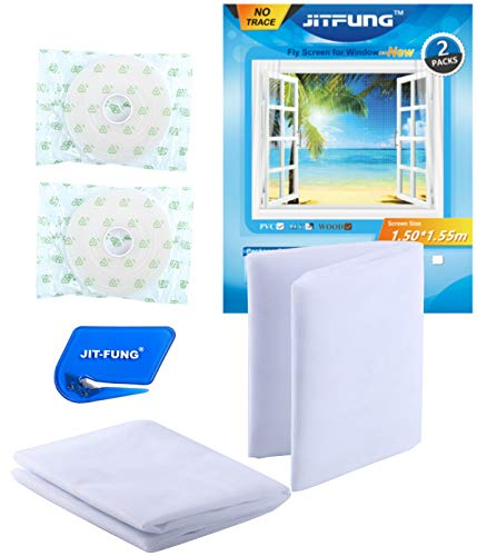JIT-FUNG DIY Mosquito Net for Windows [Premium]-2 Packs, Fly Screen Insect Mesh with Cutter and Self-Adhesive Tapes [Traceless], 3.0 (59*61inches, White)