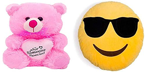 Agnolia Kid Basket Stuffed Soft Toy for Kids/Birthday Kid/Boy/Girl Combo of Pink Someone Special 30cm with Cool Dude Smiley