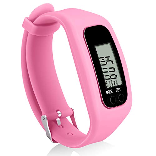 Bomxy Fitness Tracker Watch ,Simply Operation Walking Running Pedometer with Calorie Burning and Steps Counting Easy use Step Tracker (Pink-6vsp)