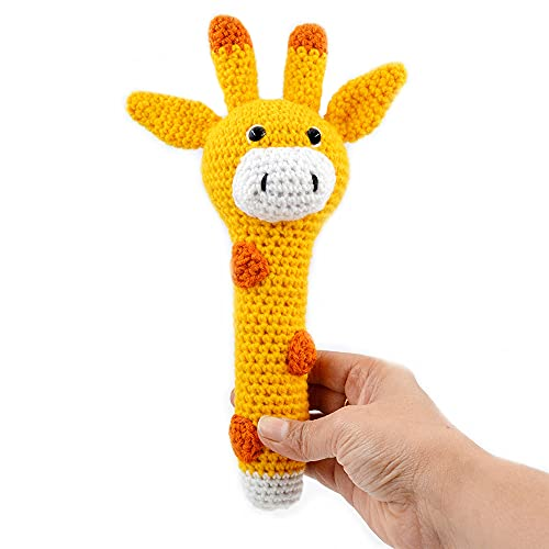 Love Crochet Art Giraffe Rattle Cum Soft Toy for Infant, Kids & Babies, Early Age Toys with Squeeze Handle for Squeaky Sound (Yellow)