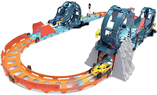 toyshine electric racetrack car set, tumbling racing track with light and sound for boys- Multi color