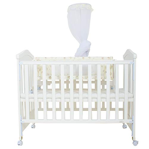Baybee Wooden Cradle for Babies-Newborn Baby Cotton Baby Cradle/Baby Sleep Swing Cradle/Wooden Cot Bed/Baby Bedding Set with Net 0-24 Months Years for Baby (Crown)