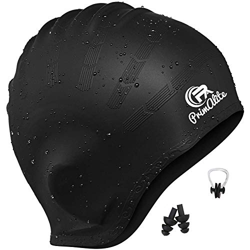 Primalite Waterproof Silicone Swimming Cap- Long & Short Hair with Ear Pocket for Adults, Men, Women, Kids (Black)