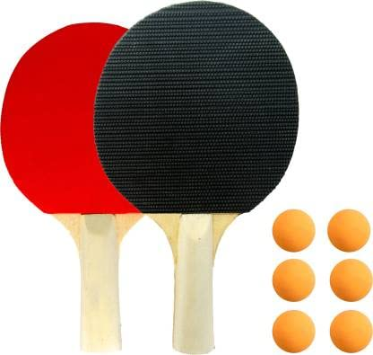 AVB Wooden able Tennis Set, 2 Bats and 6 ping Pong Balls Black, Red Table Tennis Blade (Pack of: 8, 100 g)