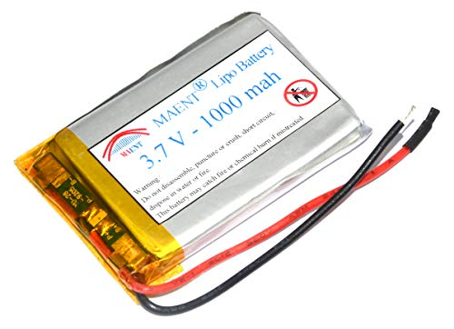 MAENT® 3.7V 1000 mah Actual capcity lipo Li ion Rechargeable Battery Lithium ion Polymer Cell for Bluetooth Science Project Toys MP3 GPS PSP Handheld Device - NOT for RC CAR OR Drone Usage