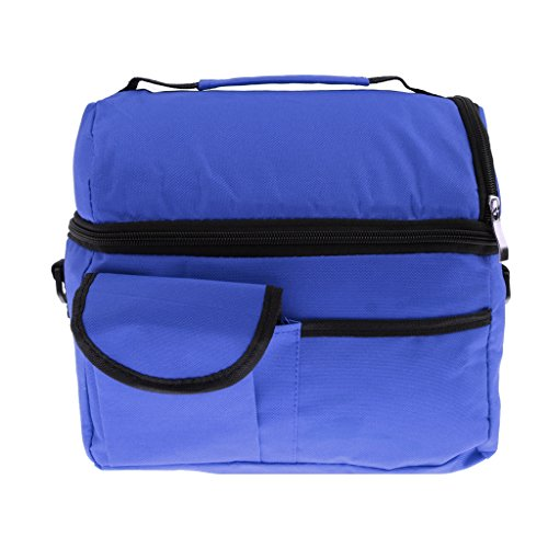 Generic Insulated Thermal Cooler Shoulder Travel Lunch Bags - Deep Blue