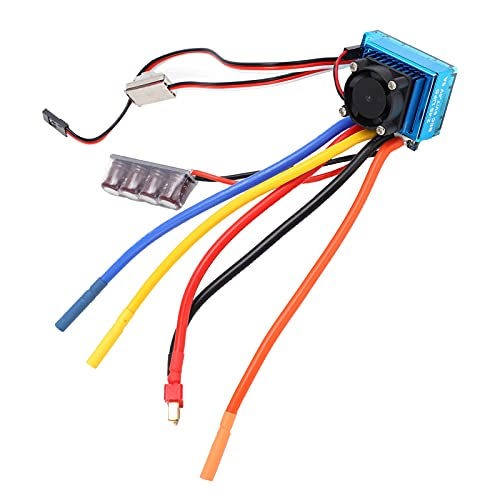 120A Two‑Way Brushless ESC, Forward/Reverse 120A Brushless ESC with Temperature Control Fan for 1/8 1/10 RC Car Boat