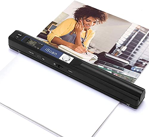 Portable Scanner, Wand Scanner for Documents Photos Book Pages in 900 Dpi Independently, Scan A4 Color Page in 3sec, Photo Scanner Transfer Files to PC Via USB Cable, Driver-Free