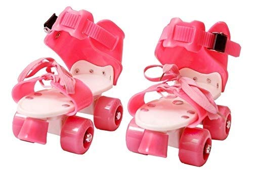 WON Roller Skates for Kids Age 5-10 Years Adjustable 4 Wheel Skating Shoes Very Smooth (Pink )