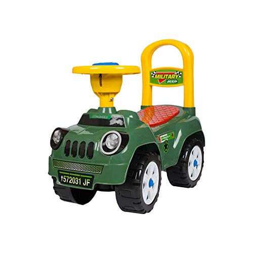 Toys Treasure Highland Jeep Ride On, Baby Car, Kids Car, Toy Car, Push Car with Whistle Sound Toy for 1 Year Old Baby, Green