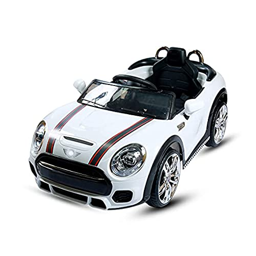 Srecap Mini Coper Electric Ride On Car For Kids With Rechargeable 12V Battery, Music, Lights And Swing.(White)