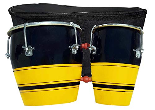 GT manufacturers Professional Two Piece Hand Made Wooden Bango Drum Set With Bag (Yellow-Black)
