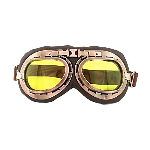 Outgeek Cycling Goggles Vintage Wind Proof Polarized Adjustable Outdoor Goggles Ski Anti-Fog Fashion Goggles for Youths Adults