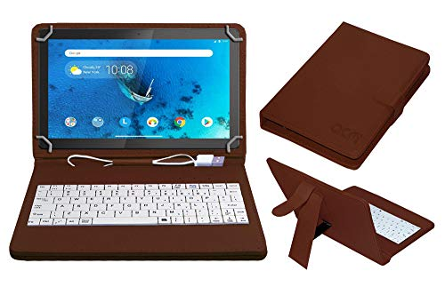 Acm USB Keyboard Case Compatible with Lenovo Tab M10 Hd 10.1 Inch Tb-X505X Tablet Cover StandStudy Gaming Direct Plug & Play - Brown
