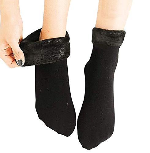 Cotson Women Wool Thick Thermal Winter Warm Hiking Socks -Without Thumb (Black, Pack of 1 Pair)