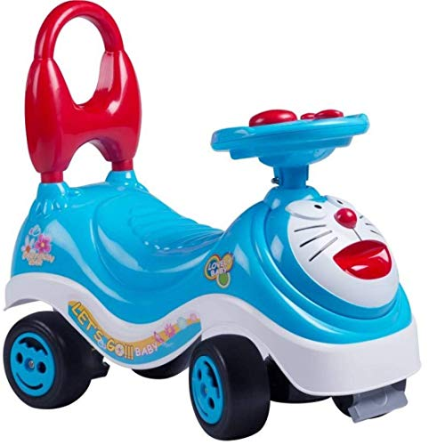 JK INT Kid Toy Set Doraemon Mini Car Frog Scooter Push Tricycle Bicycle Cycle with Music Handle & Non Pedal for 1 to 3 Years Baby Kids Ride (Blue)
