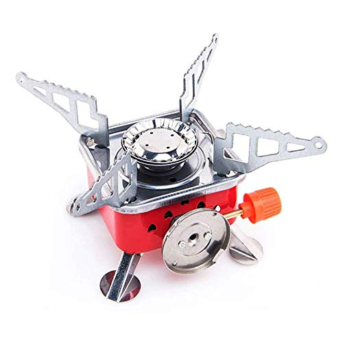 J4Jgdis Gas Stove Camping Stove Folding Furnace 2800W Outdoor Stove Picnic Cooking Gas Burners Backpacking Furnace Butane,iron, red