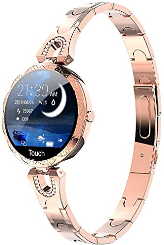 Women Smart Watch, Smartwatch for iOS Android iPhone Samsung Phones. Fitness Tracker with Heart Rate Blood Pressure Waterproof Bluetooth Pedometer Sleep Activity Tracker, Luxury Smartwatch (Gold)
