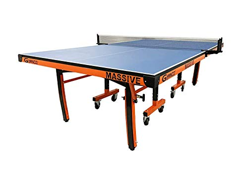Gymnco International Massive Table Tennis Table Top 25 mm Laminated with 100 MM Wheel ( Free TT Table Cover + 2 TT Racket & Balls)