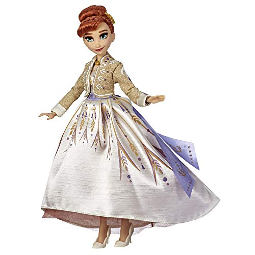DISNEY FROZEN Arendelle Anna Fashion Doll With Glittery White Travel Dress Inspired by Frozen 2 - Toy For Kids Ages 3 and Up
