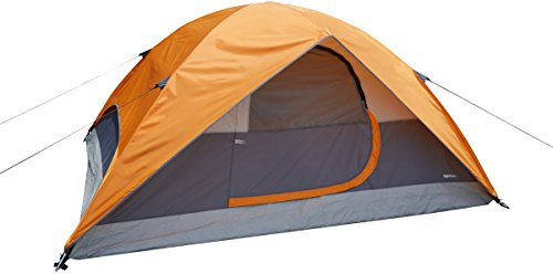AmazonBasics 4 Person Dome Water Resistant Tent for Camping and Hiking with Back Window and Floor