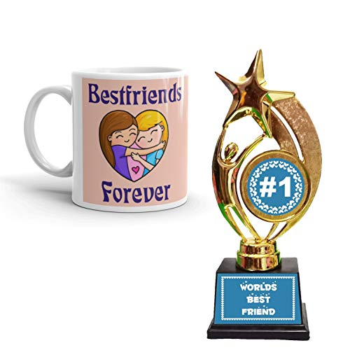 Family Shoping Friendship Day Gifts Best Friend Forever Coffee Mugs with Trophy Award Combo Pack Hamper