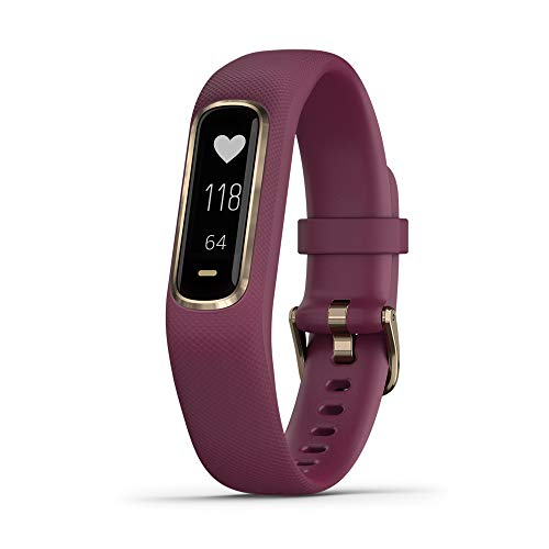 Garmin vivosmart 4, Activity and Fitness Tracker w/Pulse Ox and Heart Rate Monitor, Gold with Berry Band (No-Cost EMI Available)