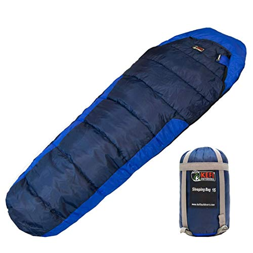 Kefi Outdoors Sleeping Bag - Mummy Style, Portable - Ideal for Camping, Hiking, Traveling, Backpacking, With Compression Sack, Temperature +6°C to +15°C, 925 g (Navy and Royal Blue - Regular)