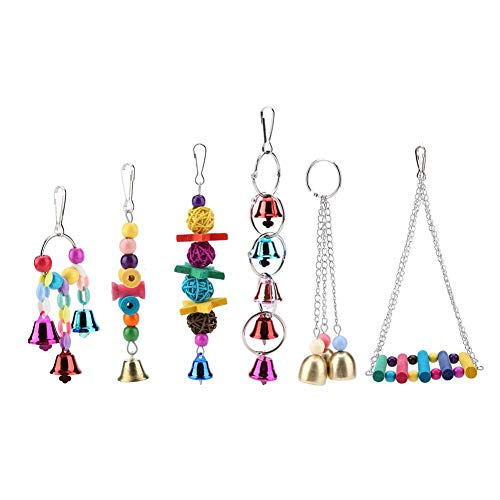 6pcs/Set Colorful Wooden Parrot Toy Pet Bird Chewing Toy Hanging Parrot Nest Swing Toys with Metal Hook Suitable for Medium and Small Parrots Birds