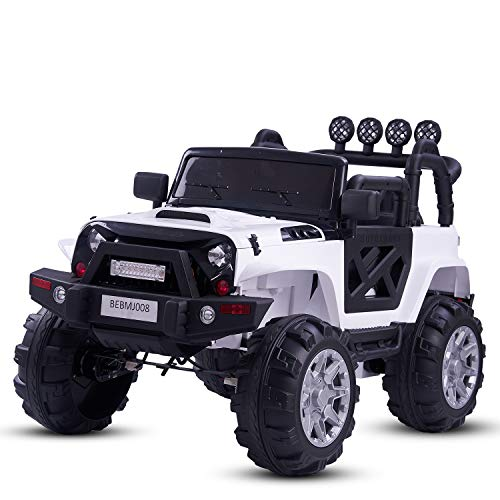 Baybee Rover Axle Rechargeable Battery Operated Ride on car Jeep Toy for Kids Music|Kids car Parent Remote Control Electric RC Ride On Car|Baby car for Kids Boys & Girls 2 to 8yrs (White)