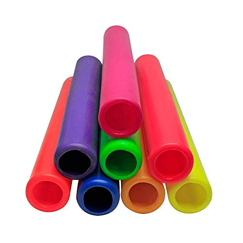 Fitfix Plastic Relay Race Batons for Athletics Practice, Track and Field Sports- (Multicolour) (Set of 8)