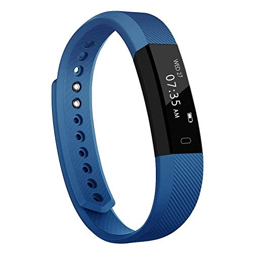 Activity Tracker, Slim Waterproof Fitness Tracker Watch with Pedometer Calories and Sleep Monitor, Step Counter Wristband Smart Watch for Kids Women Men Blue