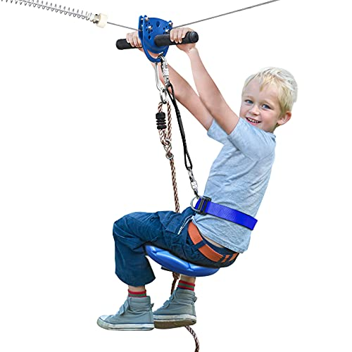 Jugader 160 Foot Zip Line Kit for Backyard, with Trolley, Adjustable Safe Belt and Seat, Non-Slip Handles Rubber (Up to 250lb)