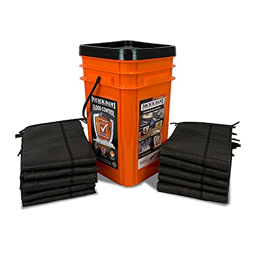 Quick Dam Grab & Go Flood Kit includes 10- 5ft Flood Barriers in Bucket