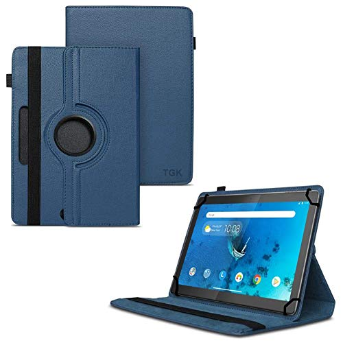 TGK 360 Degree Rotating Universal 3 Camera Hole Leather Stand Case Cover for Lenovo Tab M10 (HD) TB-X505X Tablet 10 inch - Dark Blue