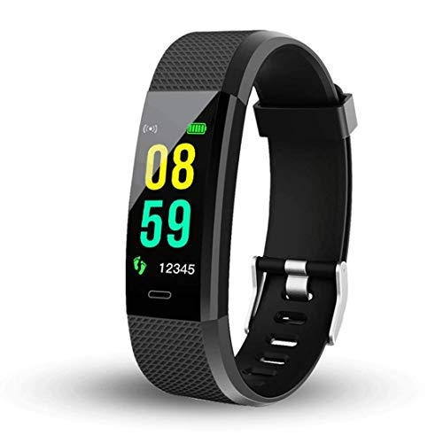 Smart Fitness Band ID115 For Samsung Galaxy View2 Android tablet Touchscreen Smart Bracelet Bluetooth Smart Band LED with Daily Activity Tracker, Heart Rate Sensor, Sleep Monitor and Basic Functionality for All Boys & Girls Wristband - Black