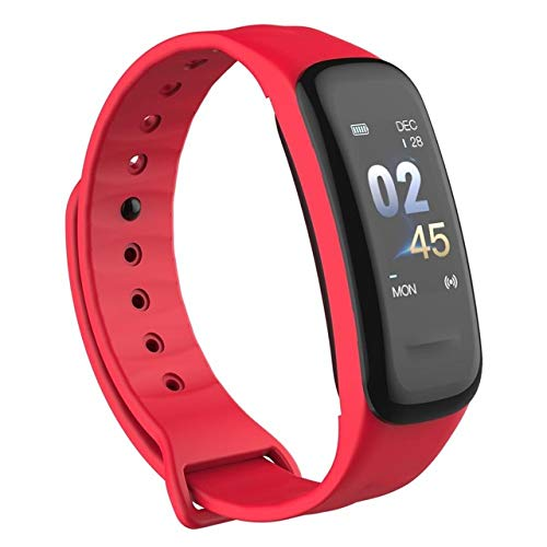 WEARFIT Fitness Tracker Watch Bluetooth Smart Band Sleep Monitor Wristband Pedometer Call Remind Wearable Smart Bracelet OLED Touch for Android iOS Smart Phone (Red)
