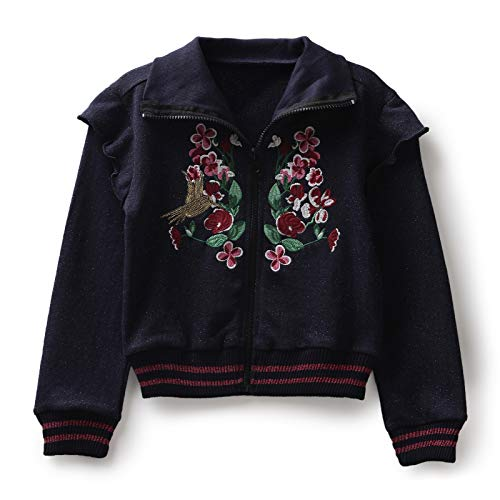 Under Fourteen Only Sweatshirts for Girls Hoodie Cotton Blended Regular Fit Full Sleeves Embroidered Casual Winter Wear (12 Years to 13 Years, Blue)