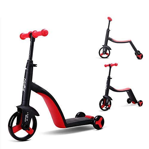 HLZY Kids Ride On Leg Push Scooter for Boys and Girls 3-in-1 Convertible Tricycle, Balance Bike, Kick Scooter for Kids and Toddler at Age of 2-8 Year Old | Trike Turns Into 3 Wheel Scooter(Multi)