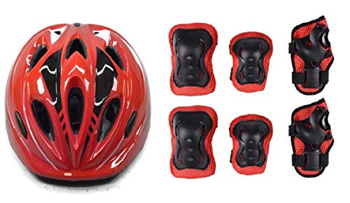 JERN® 7 Pieces Kids Children Roller Skating Bicycle Cycling Scooter Helmet Knee Elbow Pad Wrist Guard Set (Red)