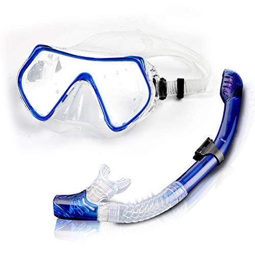 Jumix 2020 Snorkel Set for Women and Men, Anti-Fog Tempered Glass Snorkel Mask for Snorkeling, Swimming and Scuba Diving, Anti Leak Dry Top Snorkel Gear Panoramic Silicone Goggle (Multi - Color)