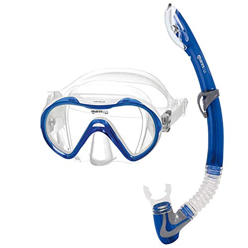 CBEX and Durable Blue Diving Mask and Snorkel Set for Underwater Sports Diving Swimming