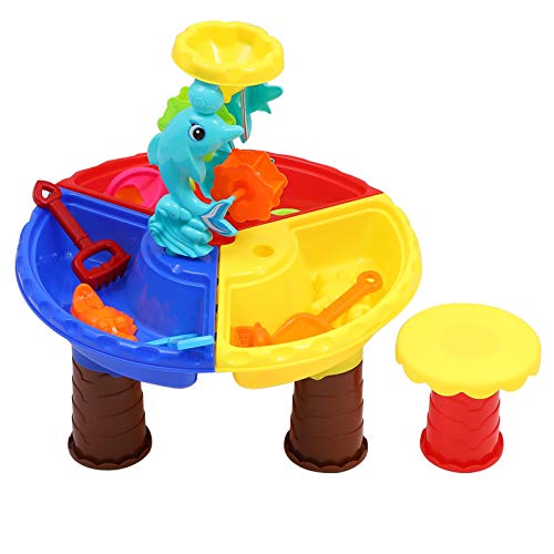Toyvian Kids Sand Water Table Beach Play Activity Table Sandbox Toys Sea Animal Sand Castles Molding Tools Educational Toy for Toddlers Children Summer Gift
